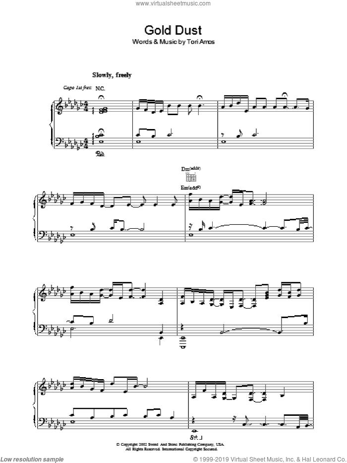 Gold Dust sheet music for voice, piano or guitar by Tori Amos, intermediate skill level