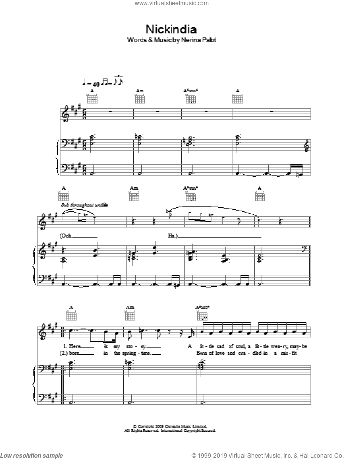 Nickindia sheet music for voice, piano or guitar by Nerina Pallot