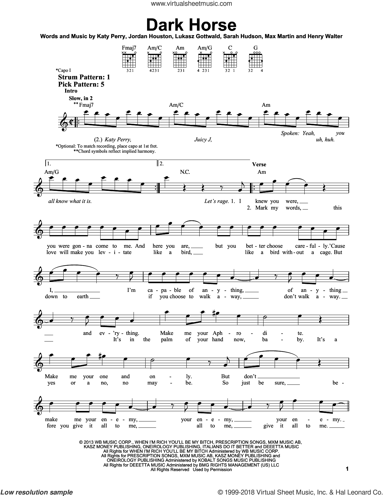 Dark Horse sheet music for guitar solo (chords) by Sarah Hudson, Henry Walter, Katy Perry, Lukasz Gottwald and Max Martin. Score Image Preview.