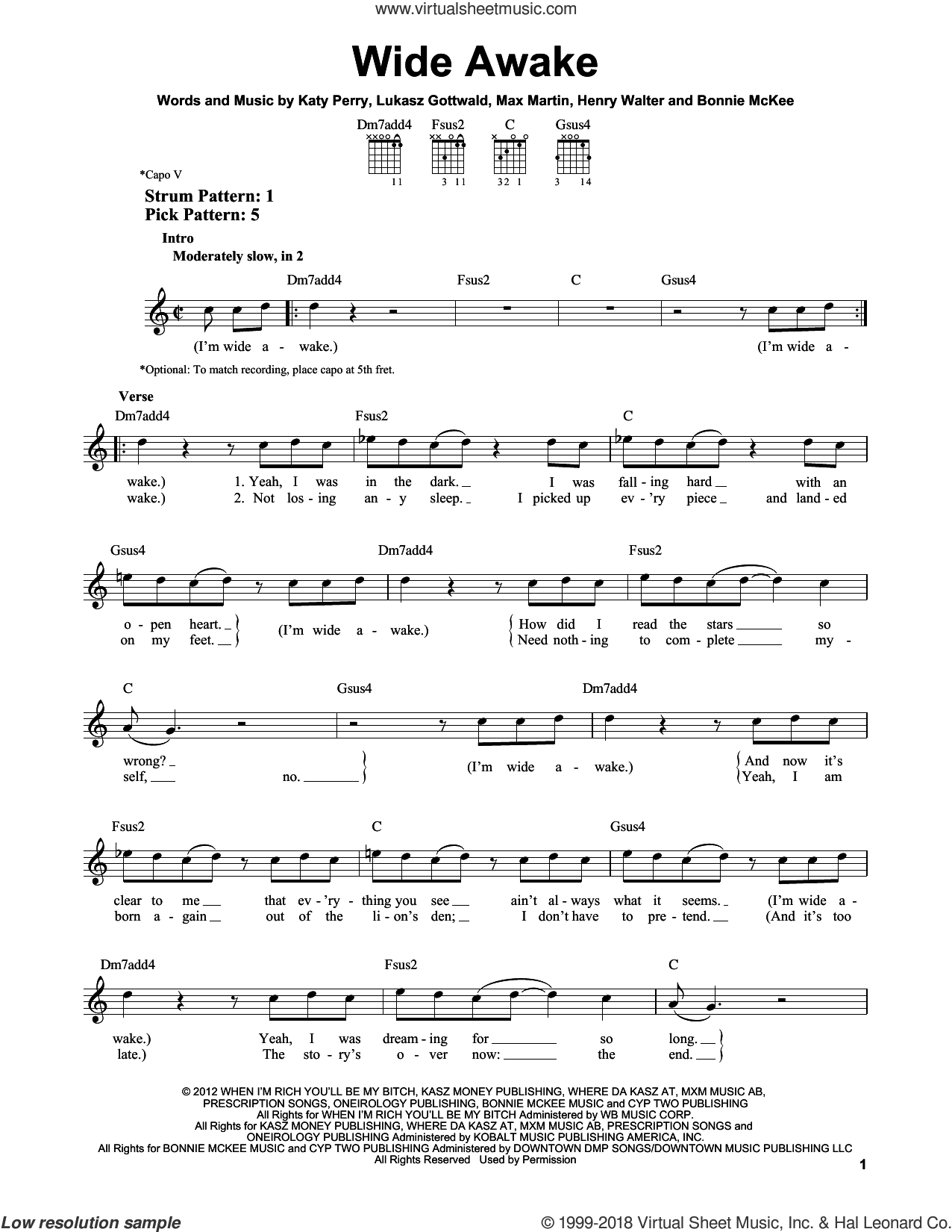 Wide Awake sheet music for guitar solo (chords) by Max Martin, Bonnie McKee, Henry Walter, Katy Perry and Lukasz Gottwald. Score Image Preview.