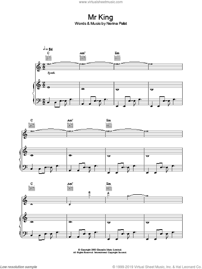 Mr. King sheet music for voice, piano or guitar by Nerina Pallot, intermediate skill level
