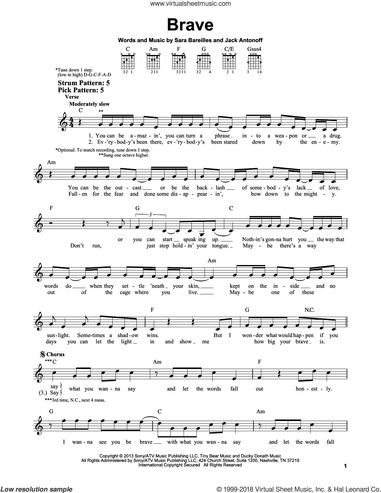 Brave sheet music for guitar solo (chords) by Jack Antonoff and Sara Bareilles. Score Image Preview.