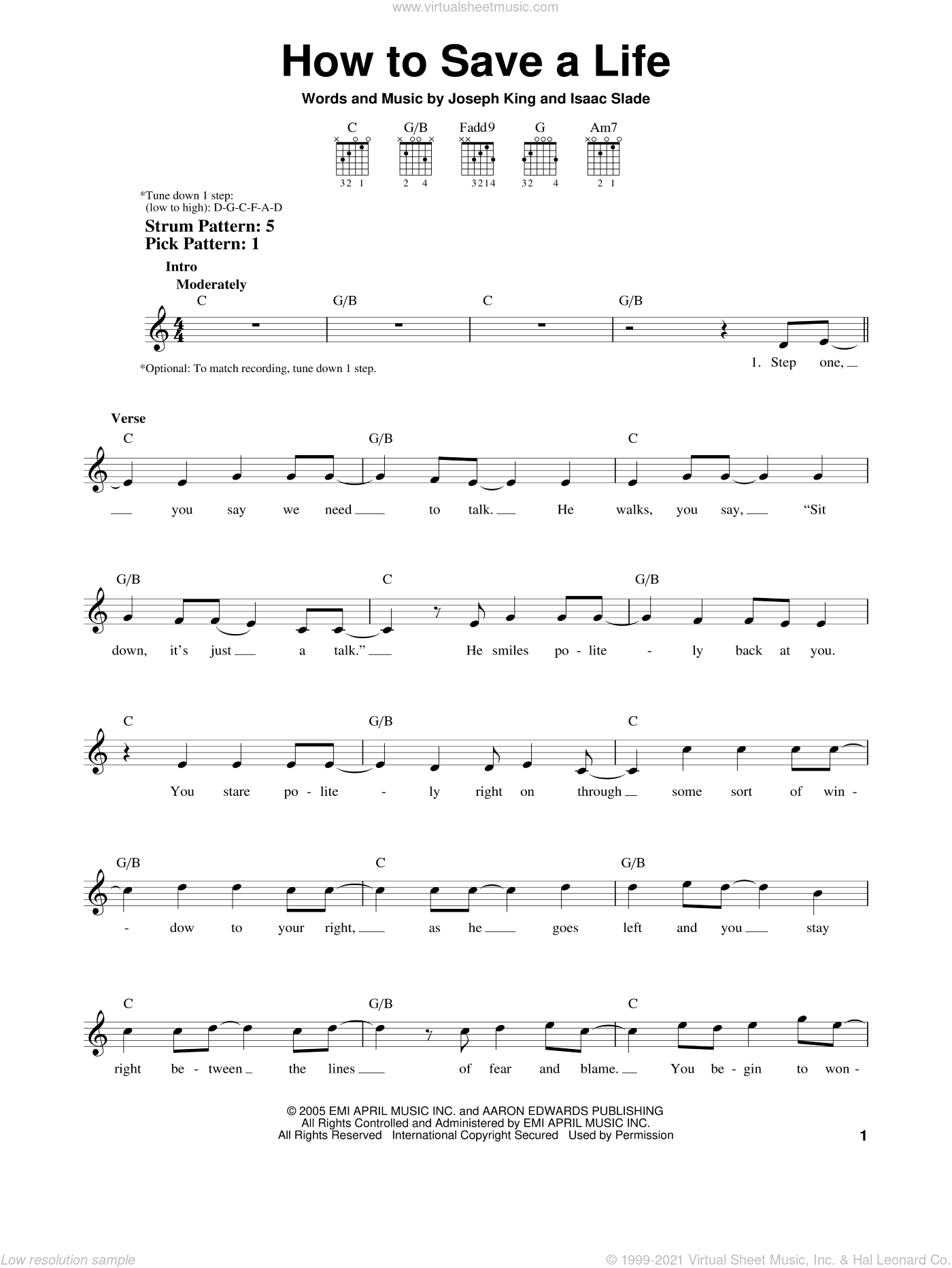How To Save A Life sheet music for guitar solo (chords) by The Fray, easy guitar (chords). Score Image Preview.