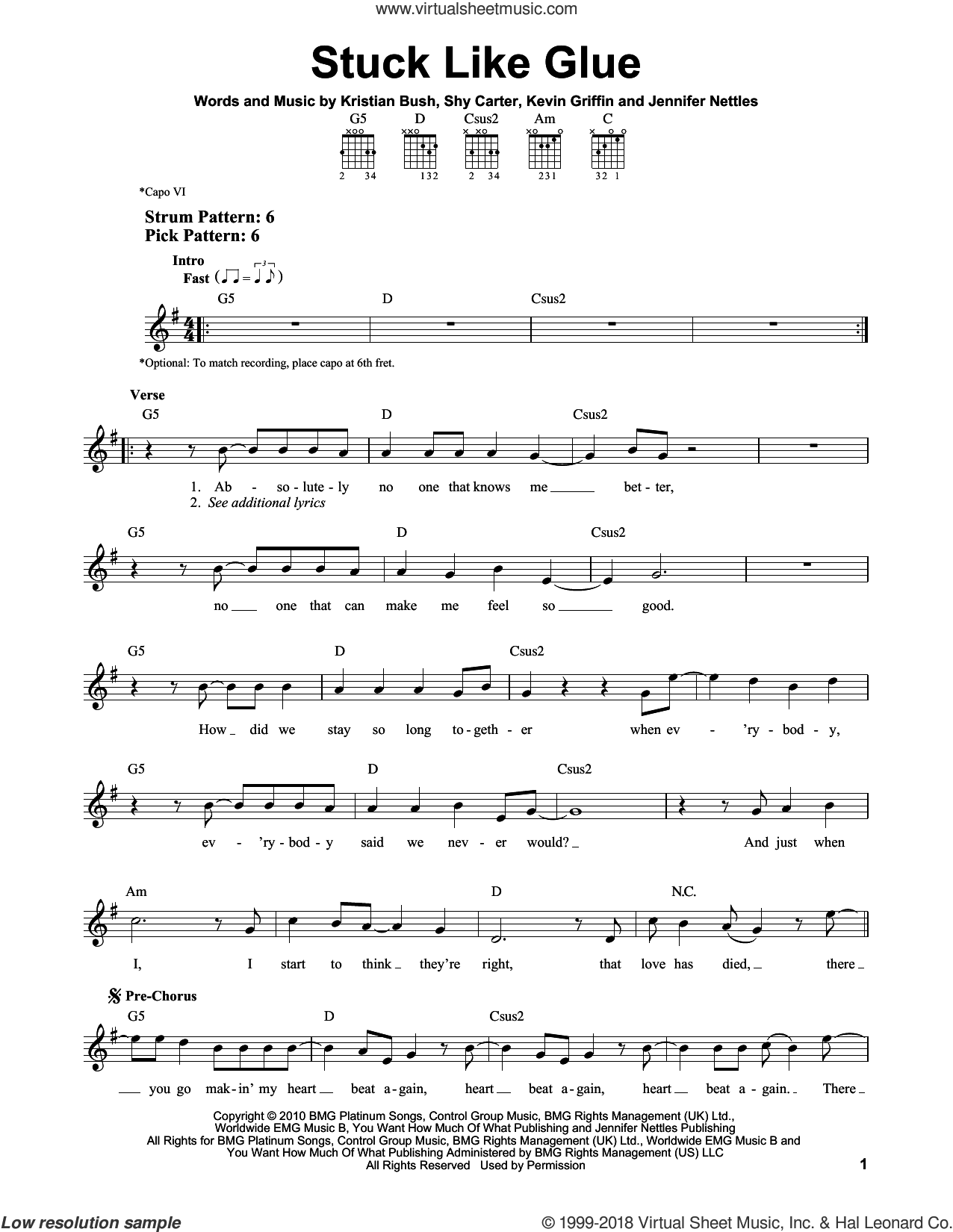 Stuck Like Glue sheet music for guitar solo (chords) by Sugarland, Jennifer Nettles, Kevin Griffin, Kristian Bush and Shy Carter, easy guitar (chords)