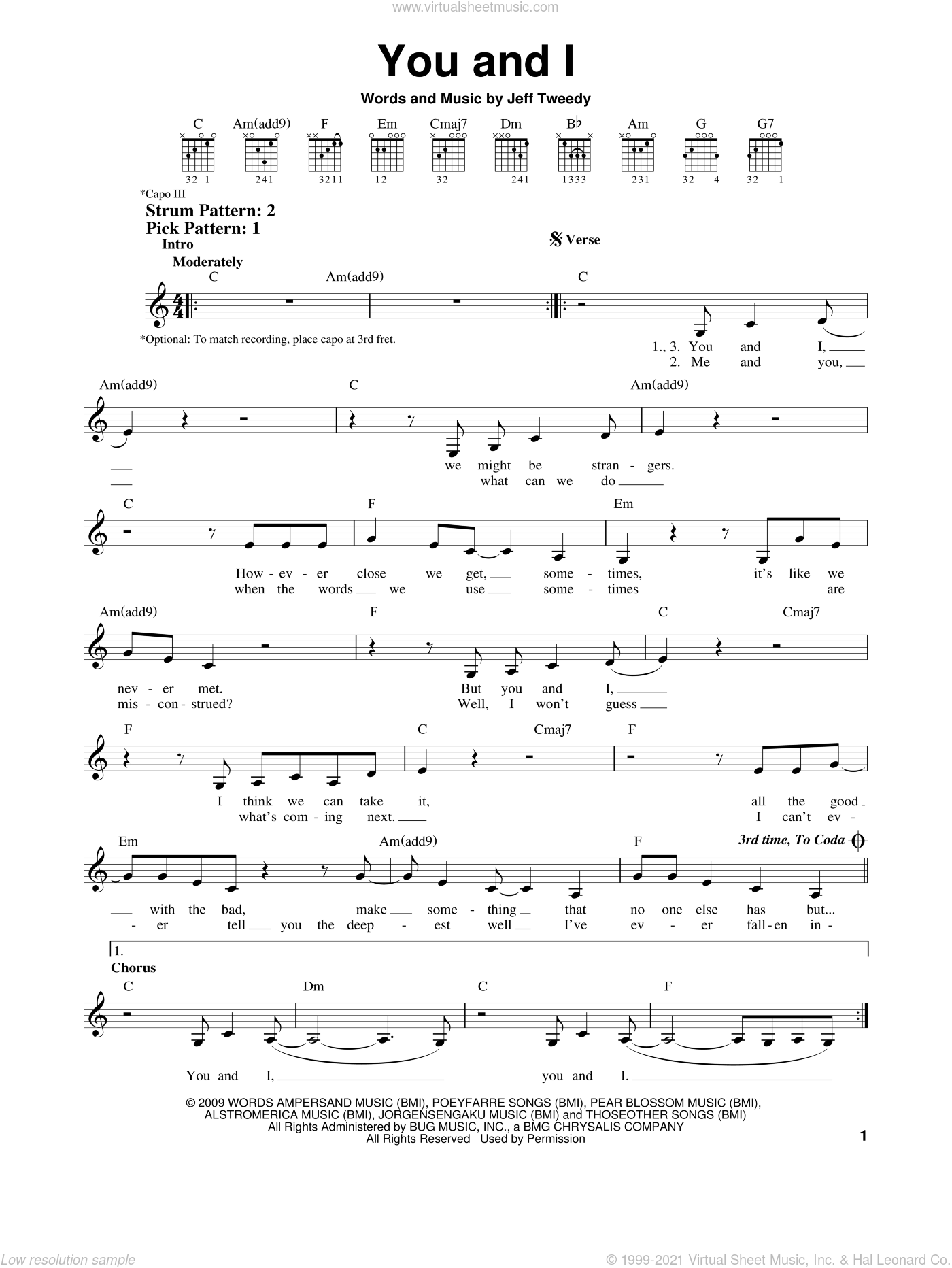 You And I sheet music for guitar solo (chords) by Wilco, easy guitar (chords). Score Image Preview.