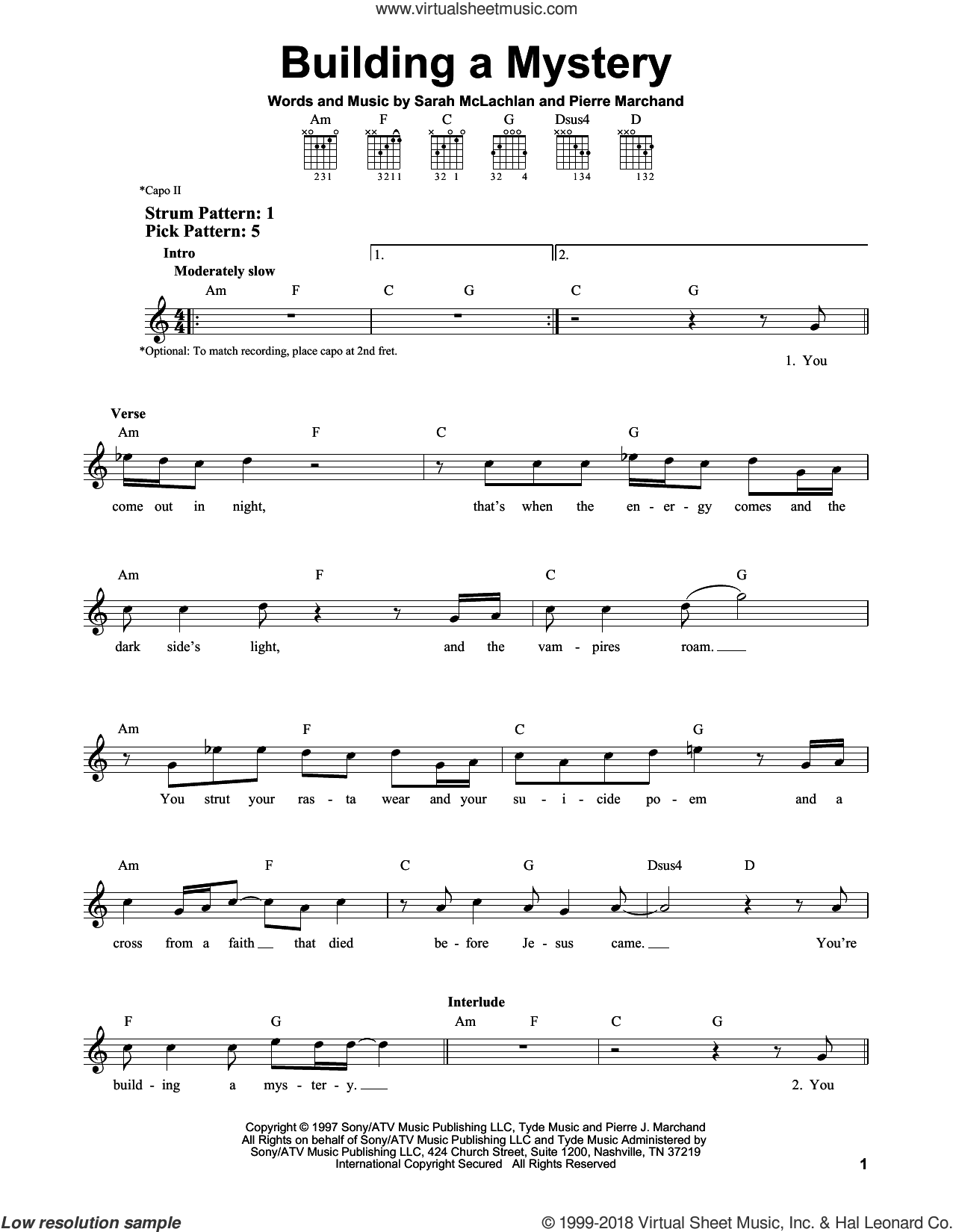Building A Mystery sheet music for guitar solo (chords) by Sarah McLachlan and Pierre Marchand, easy guitar (chords)
