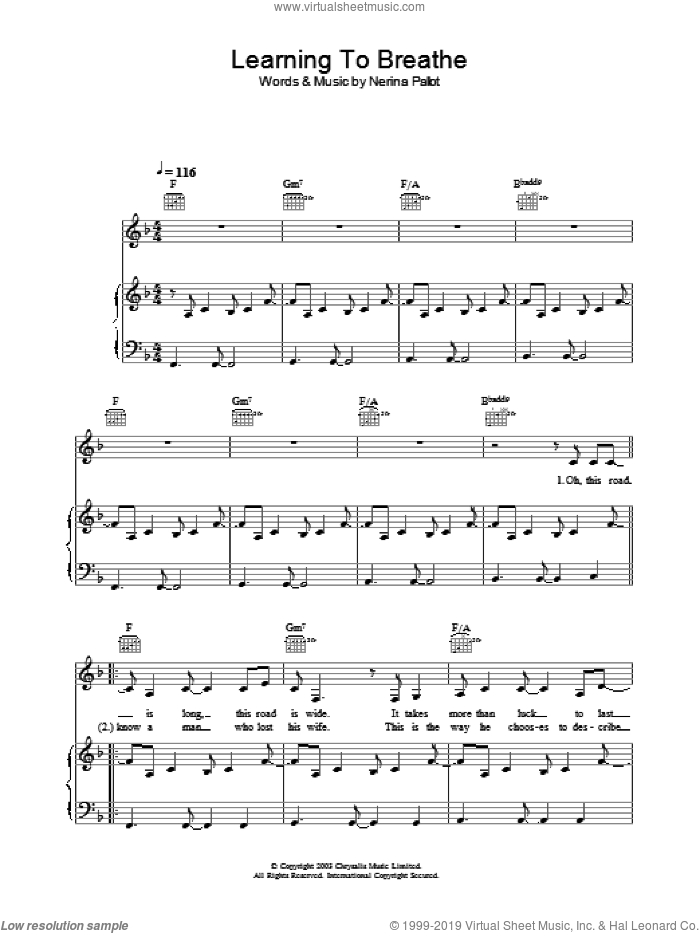 Learning To Breathe sheet music for voice, piano or guitar by Nerina Pallot. Score Image Preview.