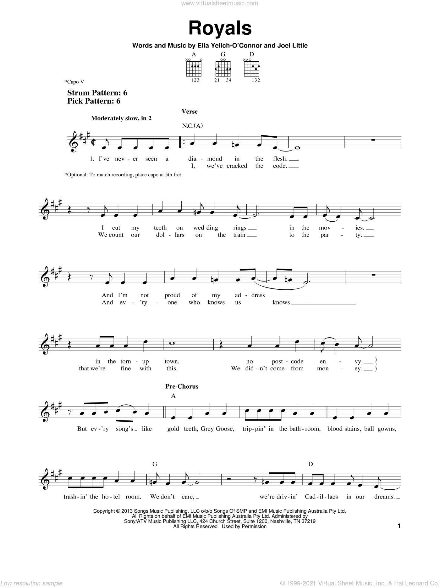 Royals sheet music for guitar solo (chords) by Lorde and Joel Little, easy guitar (chords)