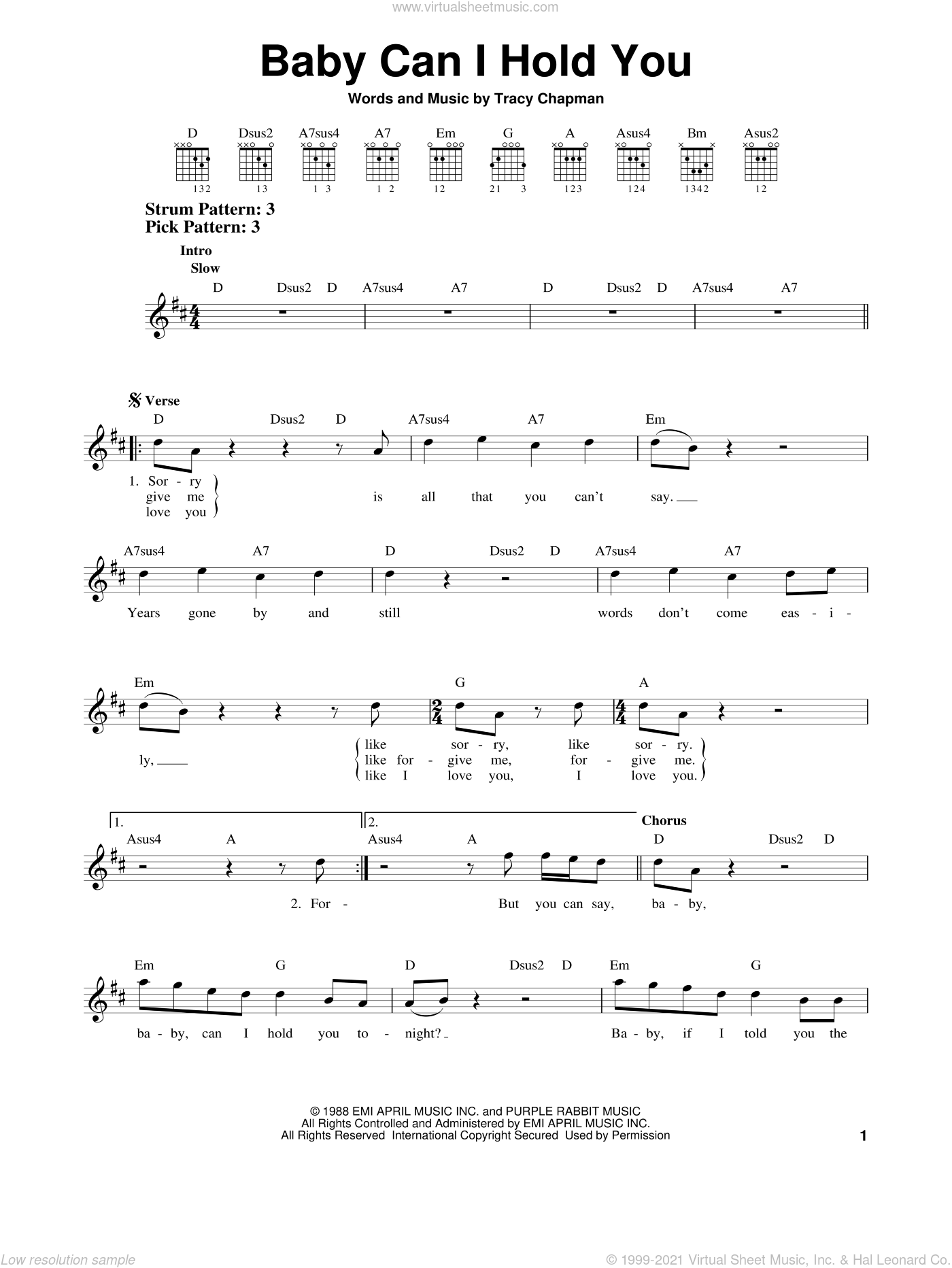 Baby Can I Hold You sheet music for guitar solo (chords) by Tracy Chapman, easy guitar (chords). Score Image Preview.