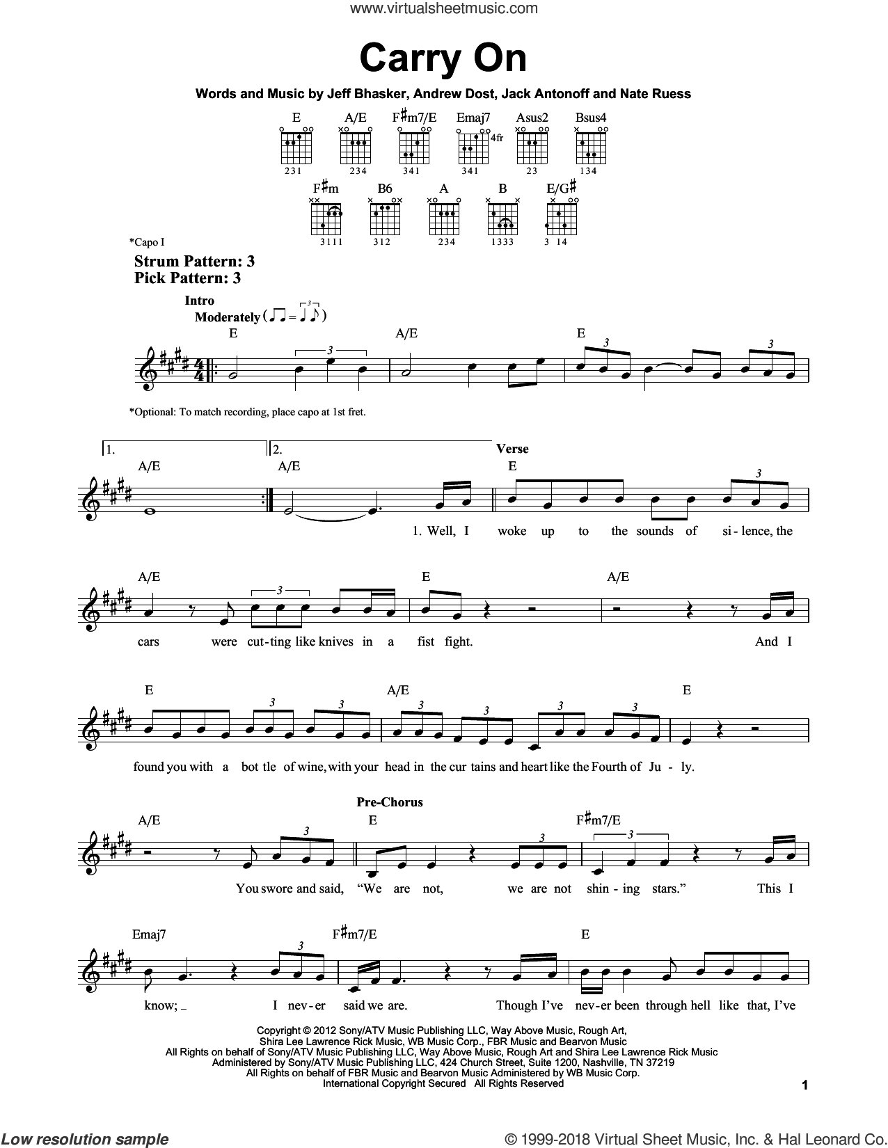 Carry On sheet music for guitar solo (chords) by Fun, Andrew Dost, Jack Antonoff, Jeff Bhasker and Nate Ruess, easy guitar (chords)