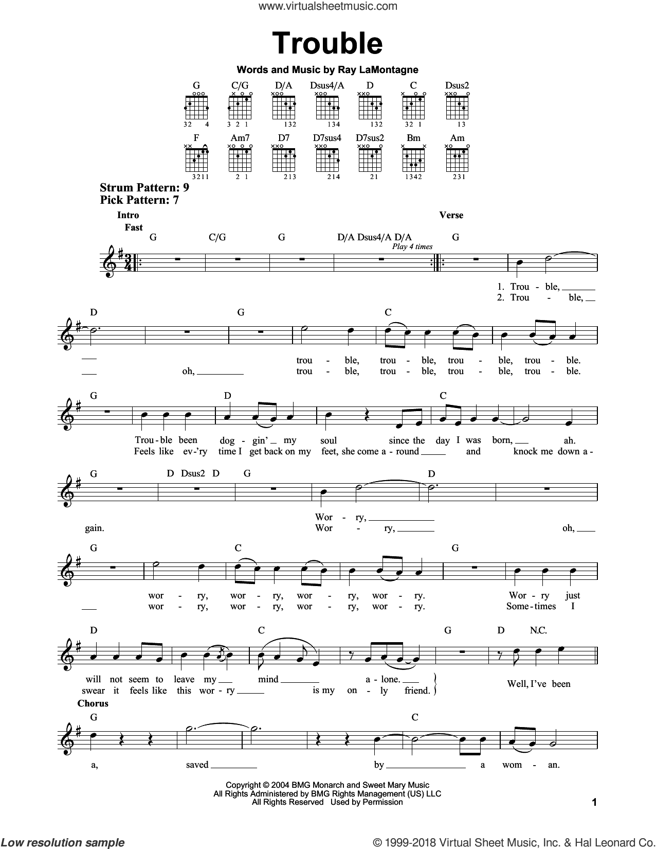 Trouble sheet music for guitar solo (chords) by Ray LaMontagne, easy guitar (chords)