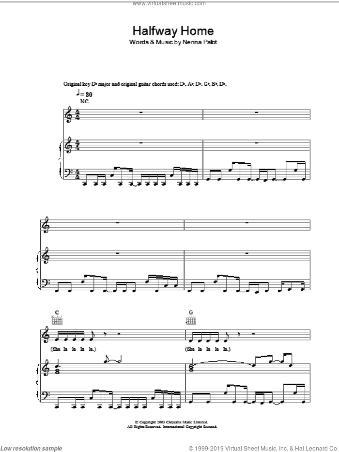 Halfway Home sheet music for voice, piano or guitar by Nerina Pallot