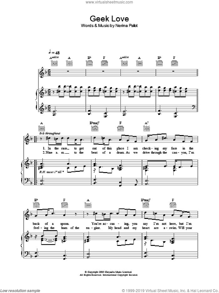 Geek Love sheet music for voice, piano or guitar by Nerina Pallot, intermediate skill level