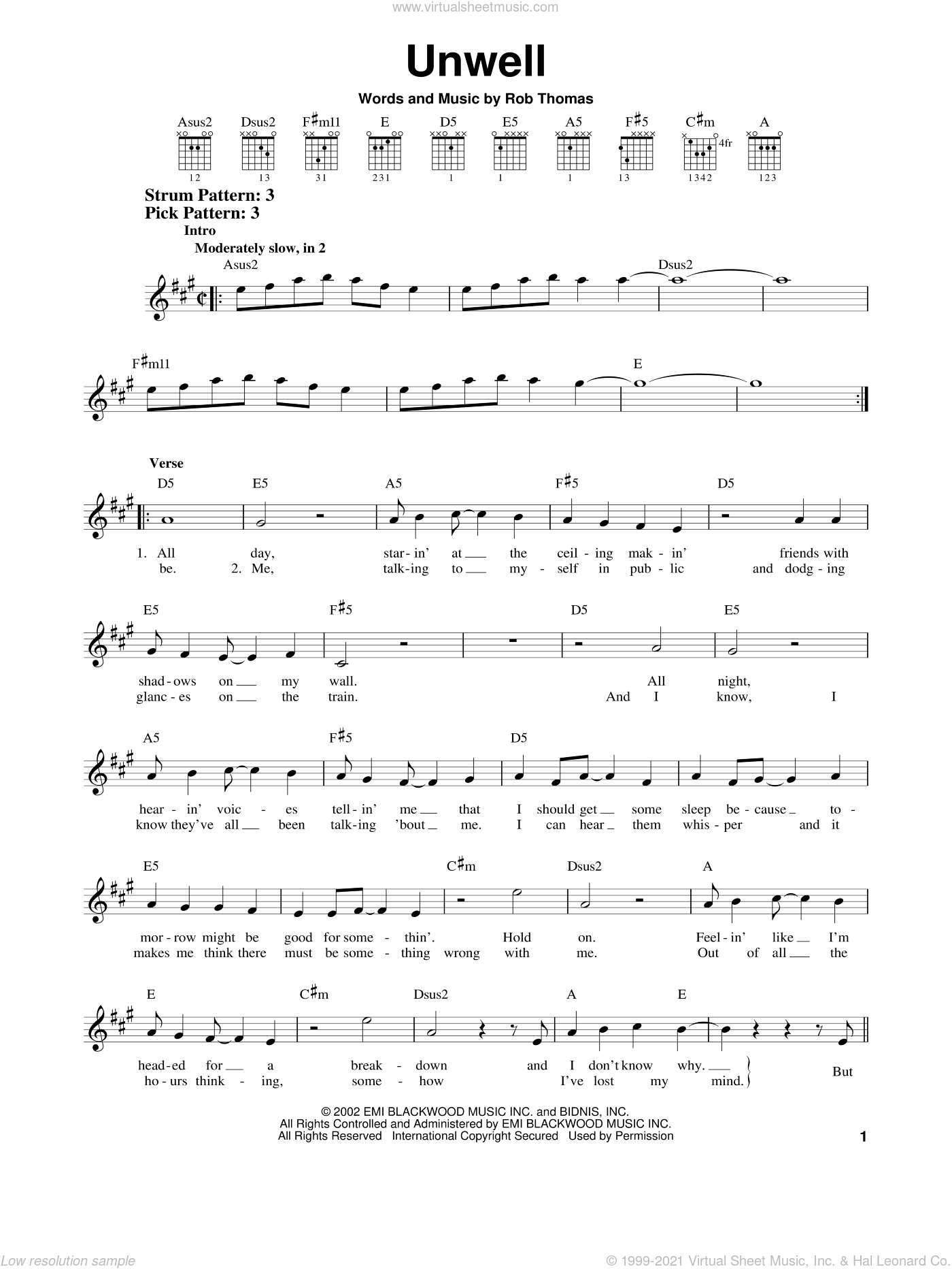 Unwell sheet music for guitar solo (chords) by Rob Thomas and Matchbox Twenty. Score Image Preview.