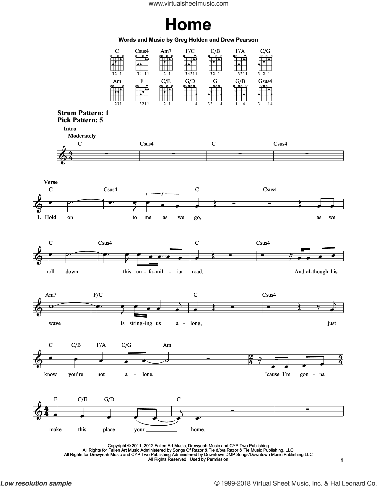 Home sheet music for guitar solo (chords) by Phillip Phillips, Drew Pearson and Greg Holden. Score Image Preview.