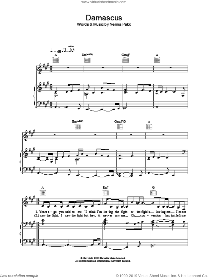 Damascus sheet music for voice, piano or guitar by Nerina Pallot
