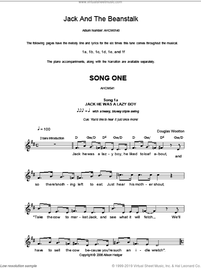 Song 1 (from Jack And The Beanstalk) sheet music for voice and other instruments (fake book) by Alison Hedger and Douglas Wootton, intermediate. Score Image Preview.