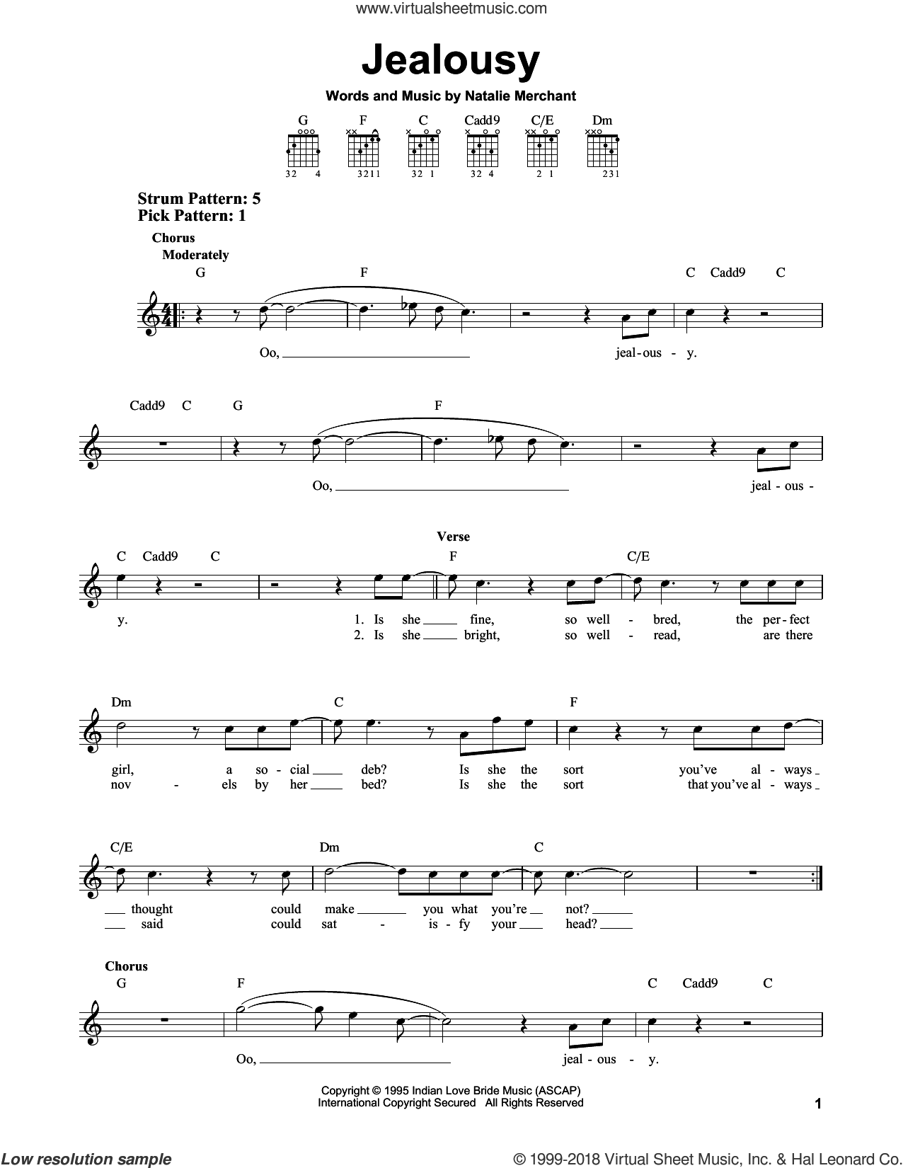 Jealousy sheet music for guitar solo (chords) by Natalie Merchant, easy guitar (chords)