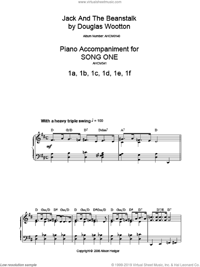 Song 1 (from Jack And The Beanstalk) sheet music for piano solo by Alison Hedger, intermediate. Score Image Preview.