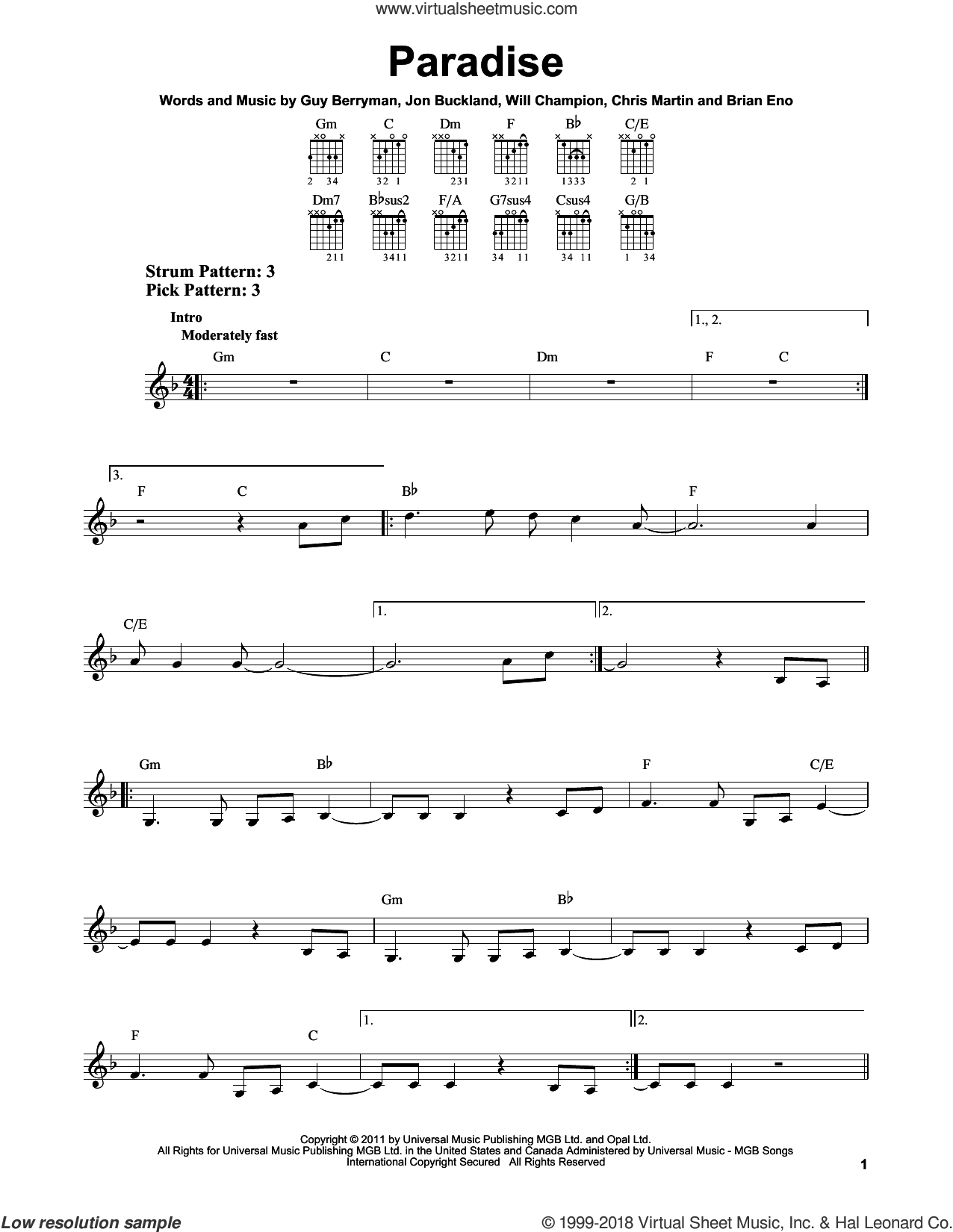 Paradise sheet music for guitar solo (chords) by Coldplay and Brian Eno, easy guitar (chords). Score Image Preview.