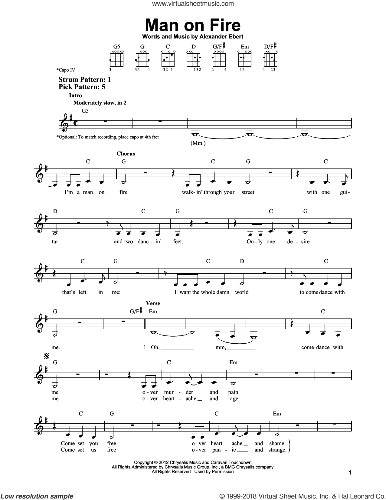 Man On Fire sheet music for guitar solo (chords) by Edward Sharpe and the Magnetic Zeros and Alexander Ebert, easy guitar (chords)