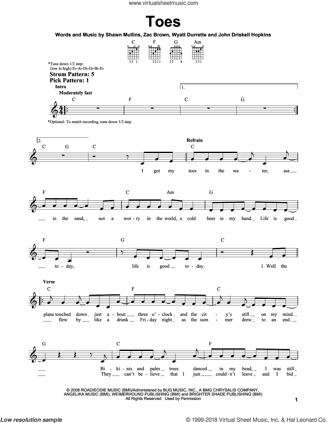 Toes sheet music for guitar solo (chords) by Zac Brown Band, John Driskell Hopkins, Shawn Mullins and Wyatt Durrette, easy guitar (chords)
