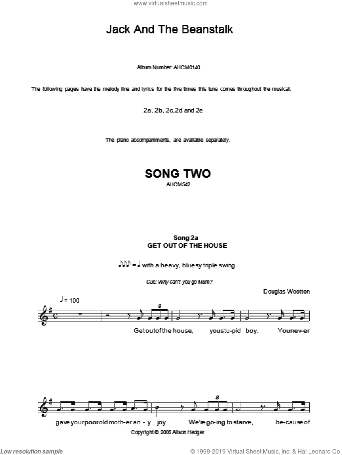 Song 2 (from Jack And The Beanstalk) sheet music for voice and other instruments (fake book) by Alison Hedger and Douglas Wootton, intermediate skill level