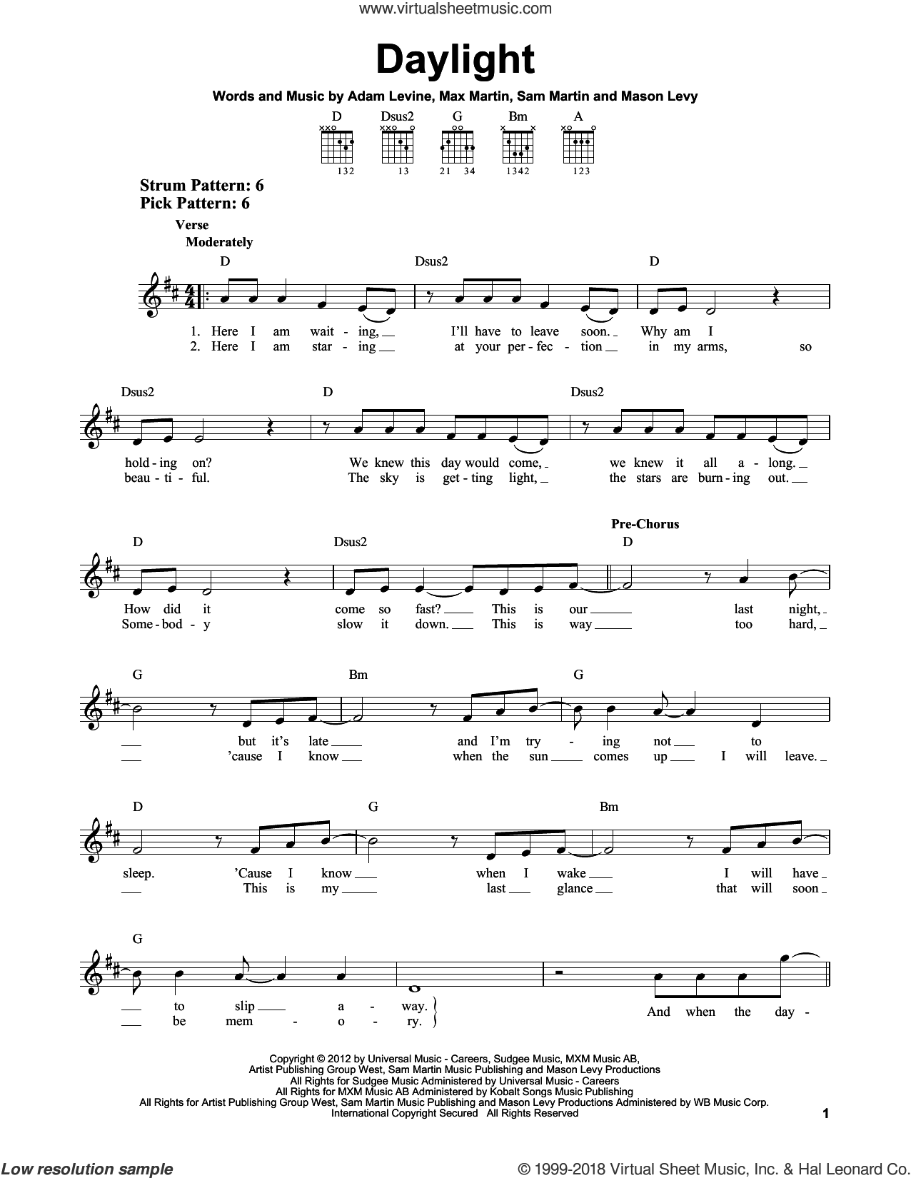 Daylight sheet music for guitar solo (chords) by Maroon 5, Adam Levine, Mason Levy, Max Martin and Sam Martin, easy guitar (chords). Score Image Preview.