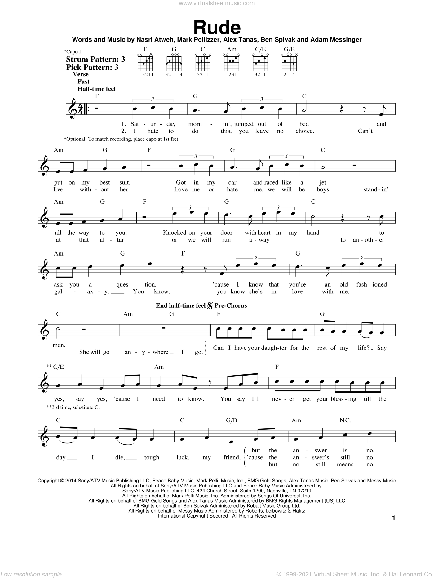 Rude sheet music for guitar solo (chords) by MAGIC!, Adam Messinger, Alex Tanas, Ben Spivak, Mark Pellizzer and Nasri Atweh, easy guitar (chords)