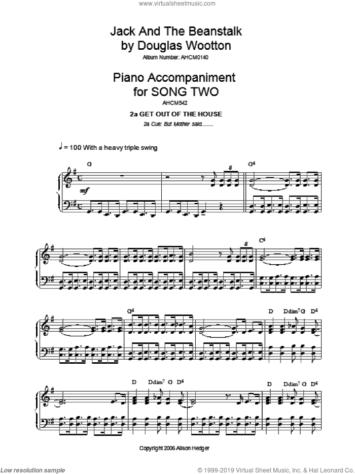 Song 2 (from Jack And The Beanstalk) sheet music for piano solo by Alison Hedger, intermediate piano. Score Image Preview.