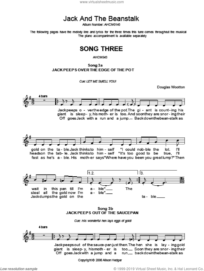 Song 3 (from Jack And The Beanstalk) sheet music for voice and other instruments (fake book) by Alison Hedger and Douglas Wootton, intermediate skill level