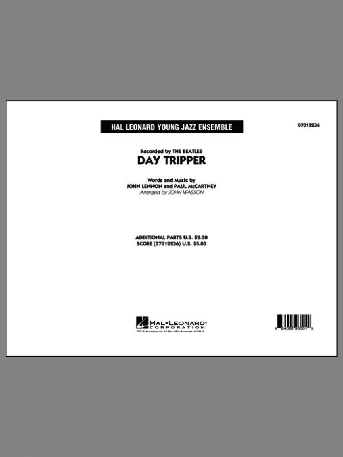 Day Tripper (COMPLETE) sheet music for jazz band by The Beatles, John Lennon, John Wasson and Paul McCartney, intermediate skill level