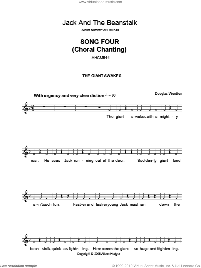 Song 4 (from Jack And The Beanstalk) sheet music for voice and other instruments (fake book) by Alison Hedger and Douglas Wootton, intermediate skill level