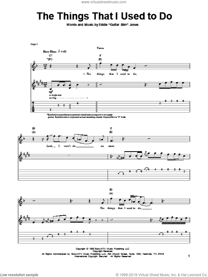 The Things That I Used To Do sheet music for guitar (tablature, play-along) by Eddie 'Guitar Slim' Jones, intermediate skill level