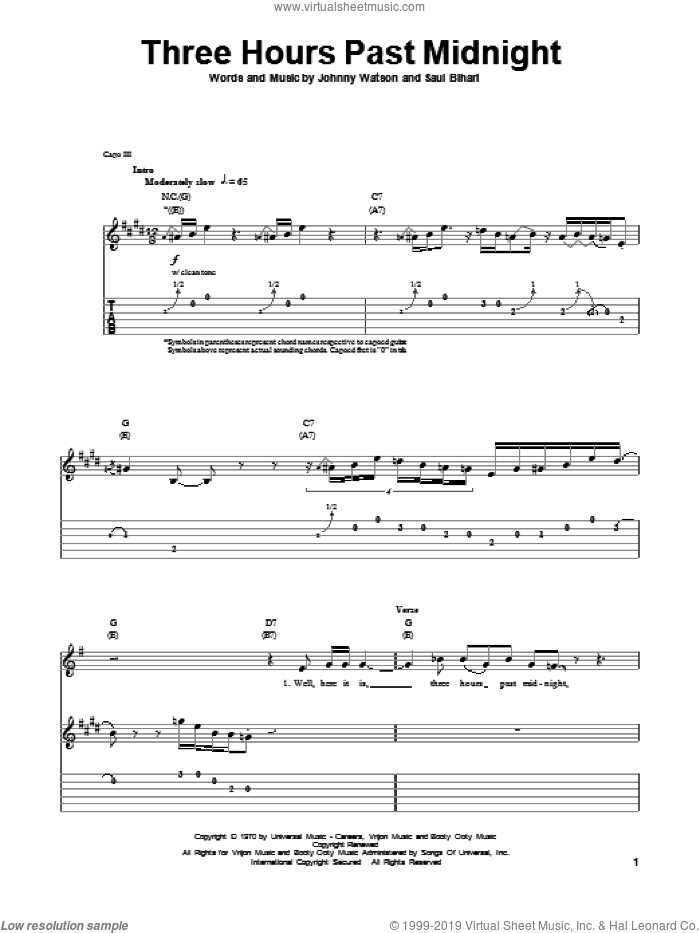 Three Hours Past Midnight sheet music for guitar (tablature, play-along) by Saul Bihari and Johnny Watson. Score Image Preview.