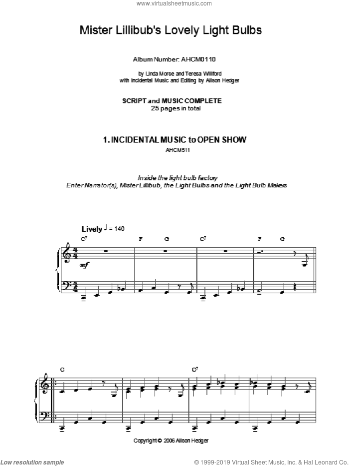 Incidental Music (from Mister Lillibub's Lovely Light Bulbs) sheet music for piano solo by Alison Hedger. Score Image Preview.