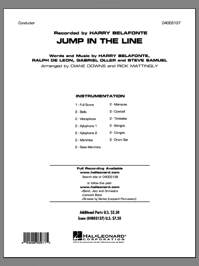 Jump in the Line (COMPLETE) sheet music for concert band by Harry Belafonte, Diane Downs, Gabriel Oller, Jeff Simmons, Ralph De Leon, Raymond Bell, Steve Primatic and Steve Samuel, intermediate skill level