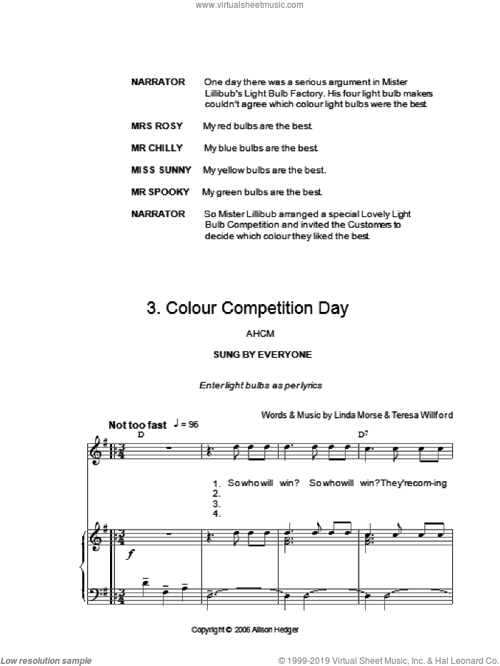 Colour Competition Day (from Mister Lillibub's Lovely Light Bulbs) sheet music for voice, piano or guitar by Teresa Willford and Alison Hedger