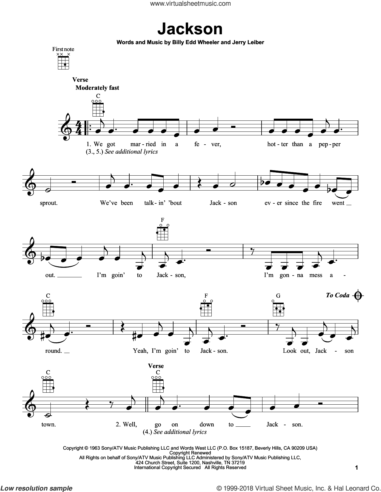 Jackson sheet music for ukulele by Johnny Cash, Johnny Cash & June Carter, Nancy Sinatra & Lee Hazelwood, Billy Edd Wheeler and Jerry Leiber, intermediate skill level