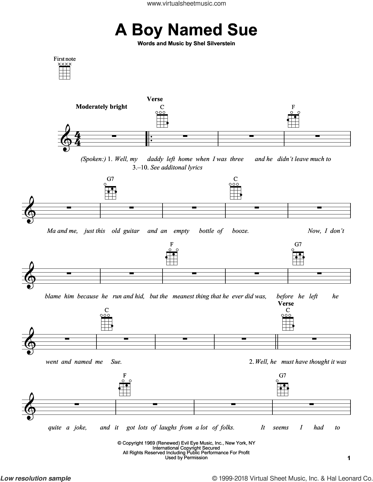 A Boy Named Sue sheet music for ukulele by Johnny Cash and Shel Silverstein, intermediate. Score Image Preview.