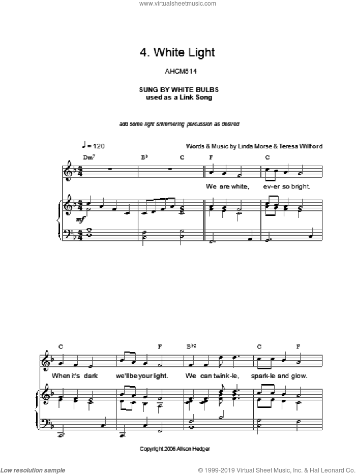 White Light (from Mister Lillibub's Lovely Light Bulbs) sheet music for voice, piano or guitar by Teresa Willford