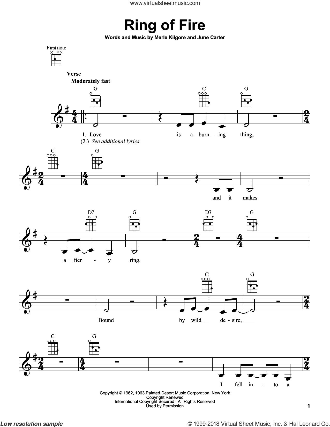 Ring Of Fire sheet music for ukulele by Johnny Cash, Alan Jackson, June Carter and Merle Kilgore, intermediate skill level