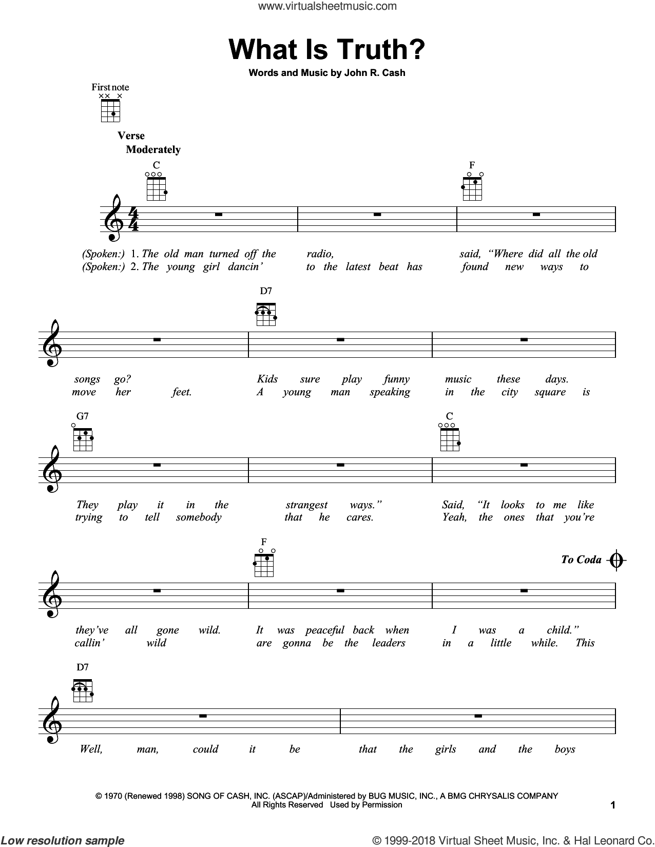 What Is Truth? sheet music for ukulele by Johnny Cash, intermediate ukulele. Score Image Preview.