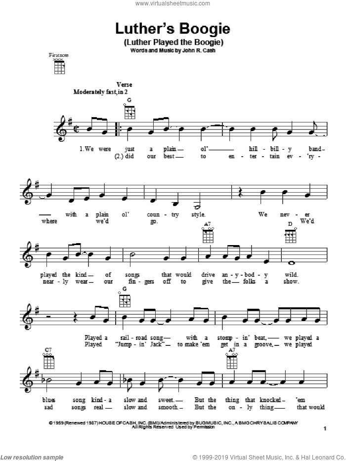 Luther's Boogie (Luther Played The Boogie) sheet music for ukulele by Johnny Cash. Score Image Preview.