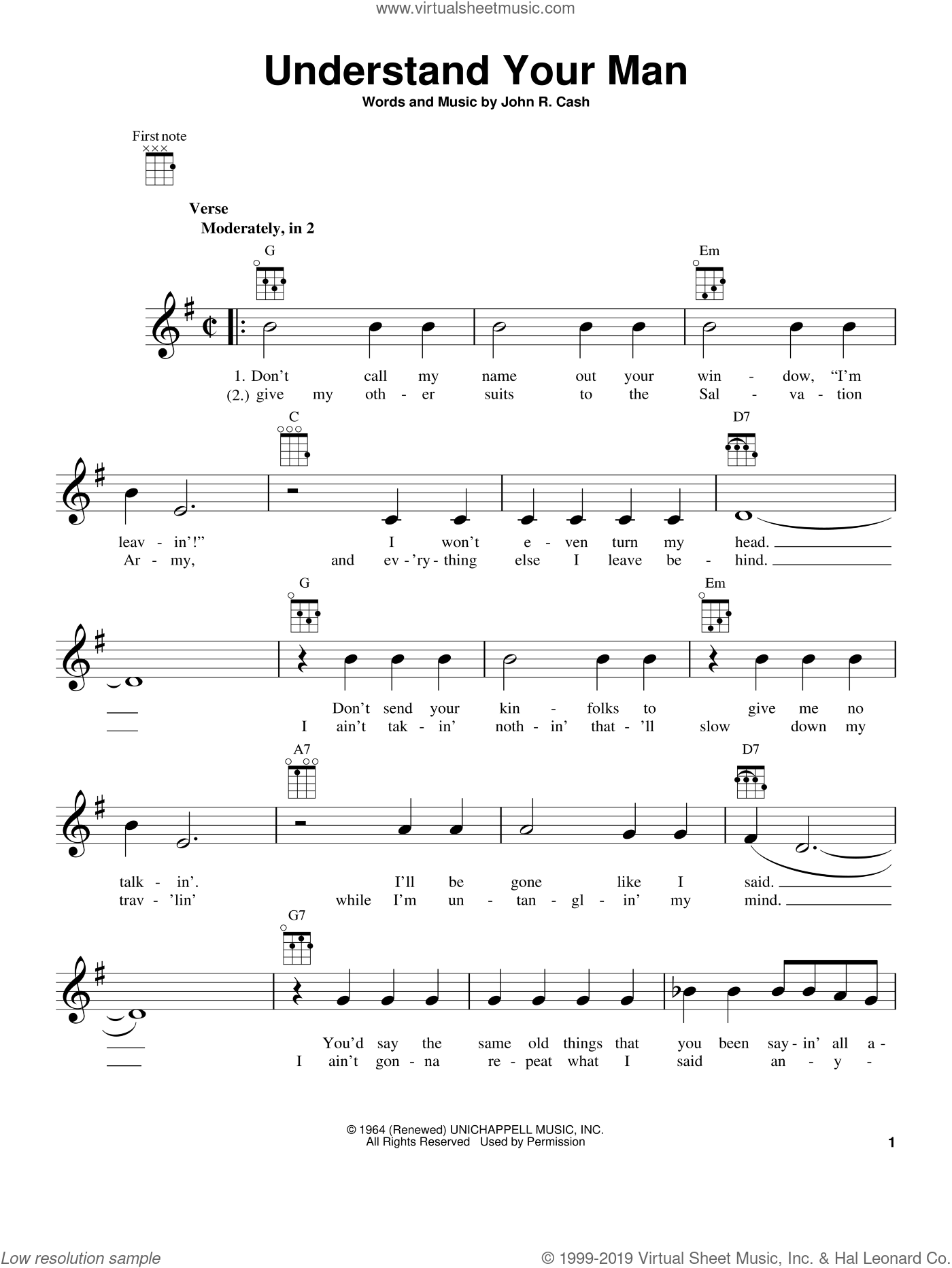 Understand Your Man sheet music for ukulele by Johnny Cash, intermediate