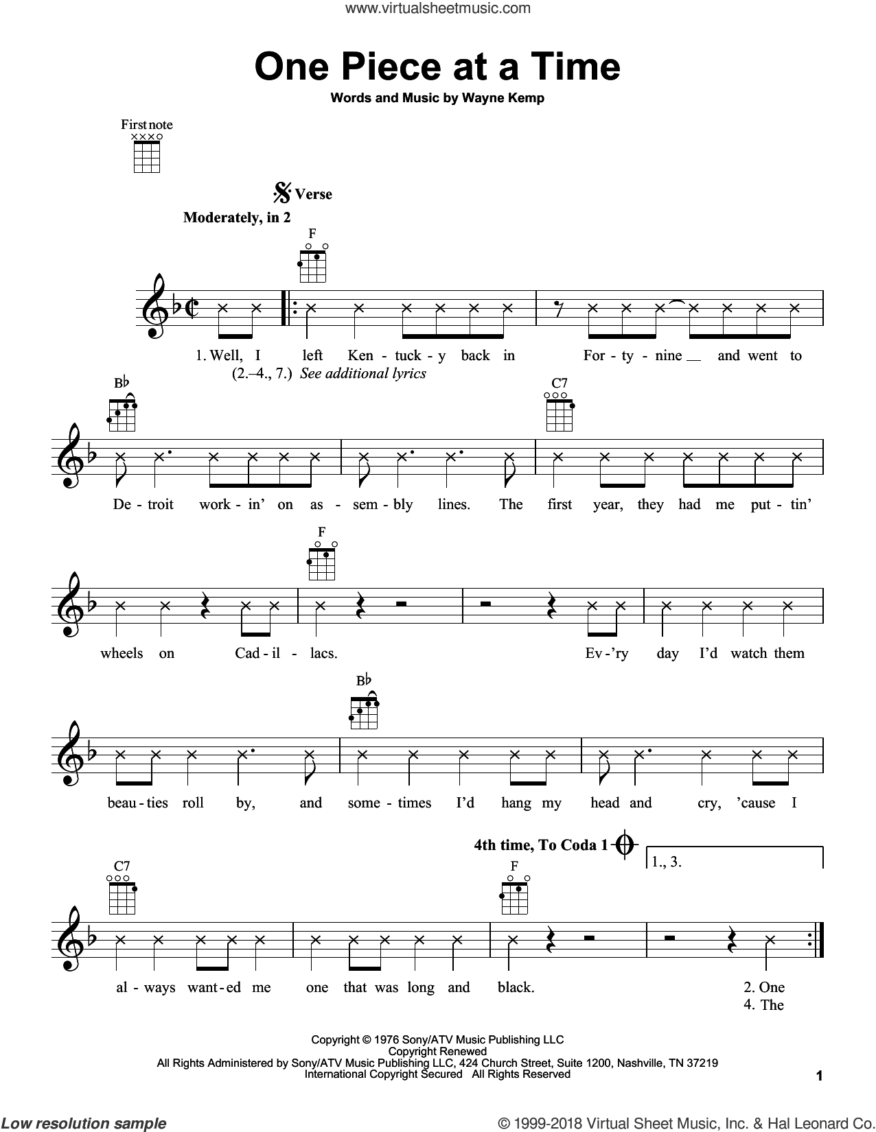 One Piece At A Time sheet music for ukulele by Wayne Kemp and Johnny Cash. Score Image Preview.