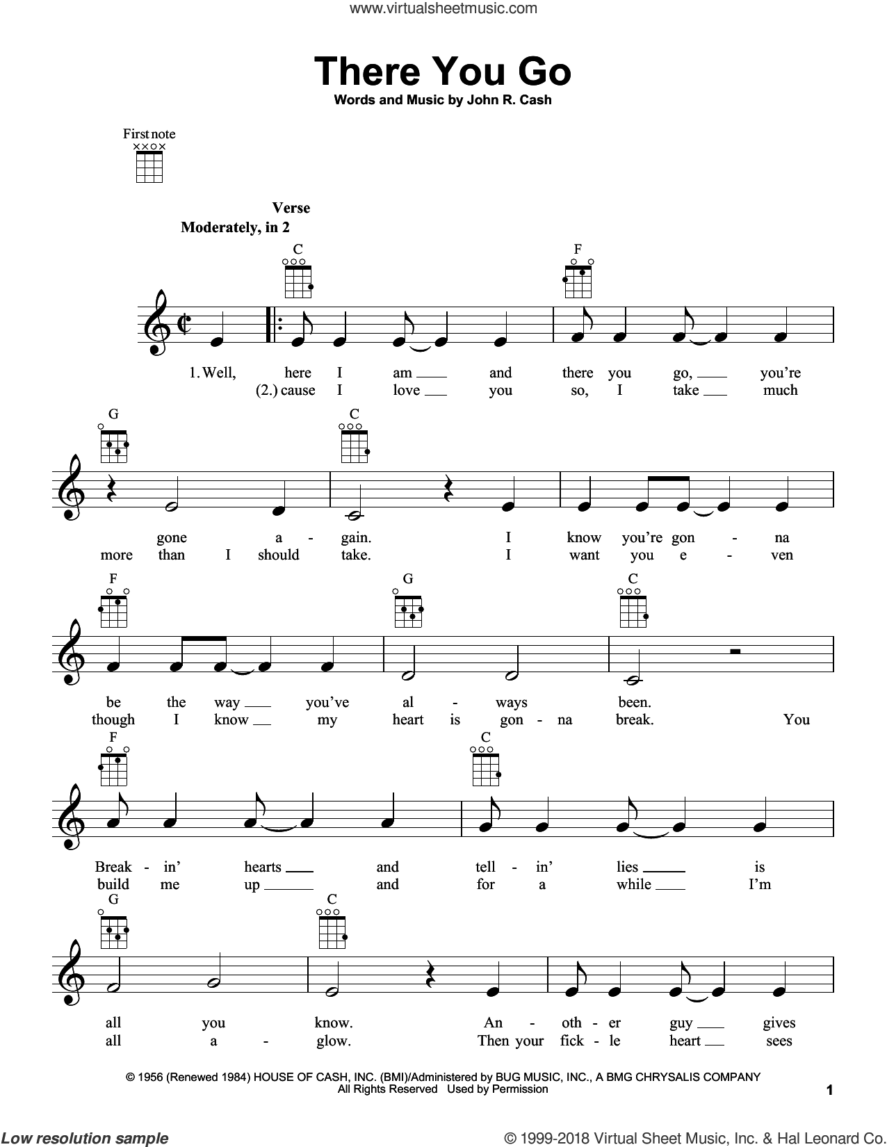 There You Go sheet music for ukulele by Johnny Cash, intermediate skill level