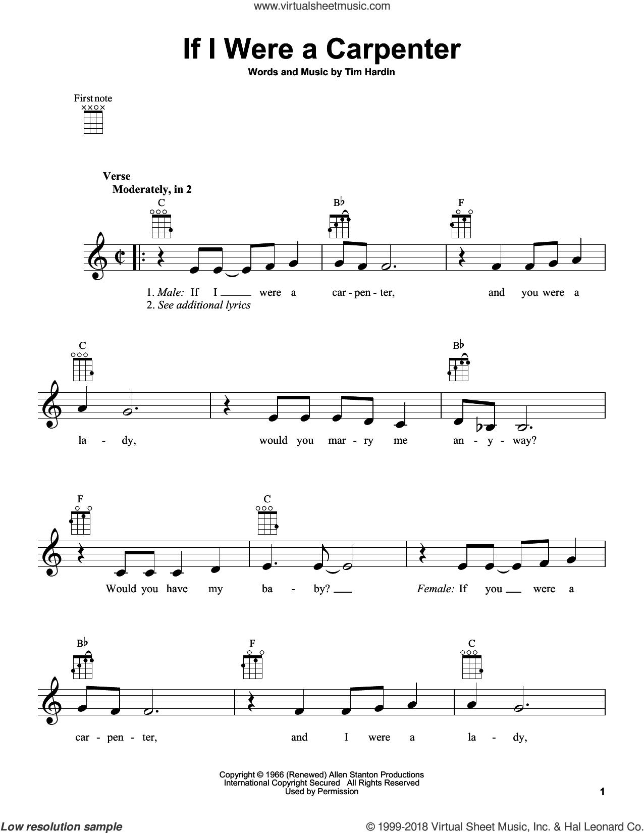 If I Were A Carpenter sheet music for ukulele by Johnny Cash & June Carter, Bobby Darin, Johnny Cash and Tim Hardin, intermediate skill level