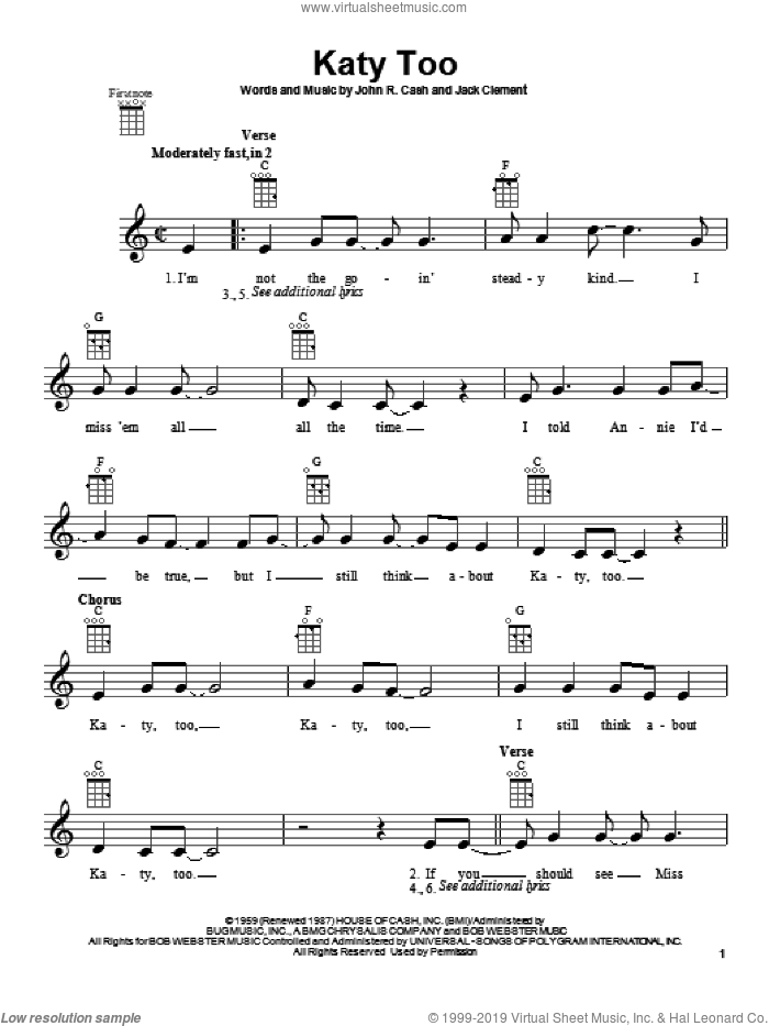 Katy Too sheet music for ukulele by Johnny Cash and Jack Clement, intermediate