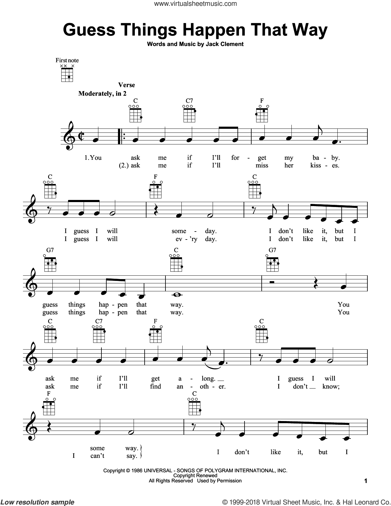 Guess Things Happen That Way sheet music for ukulele by Jack Clement and Johnny Cash. Score Image Preview.